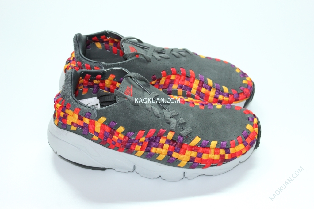 NIKE AIR FOOTSCAPE WOVEN MOTION GRAY RAINBOW 鐵灰 灰 彩虹 編織 側綁 417725-003 女鞋