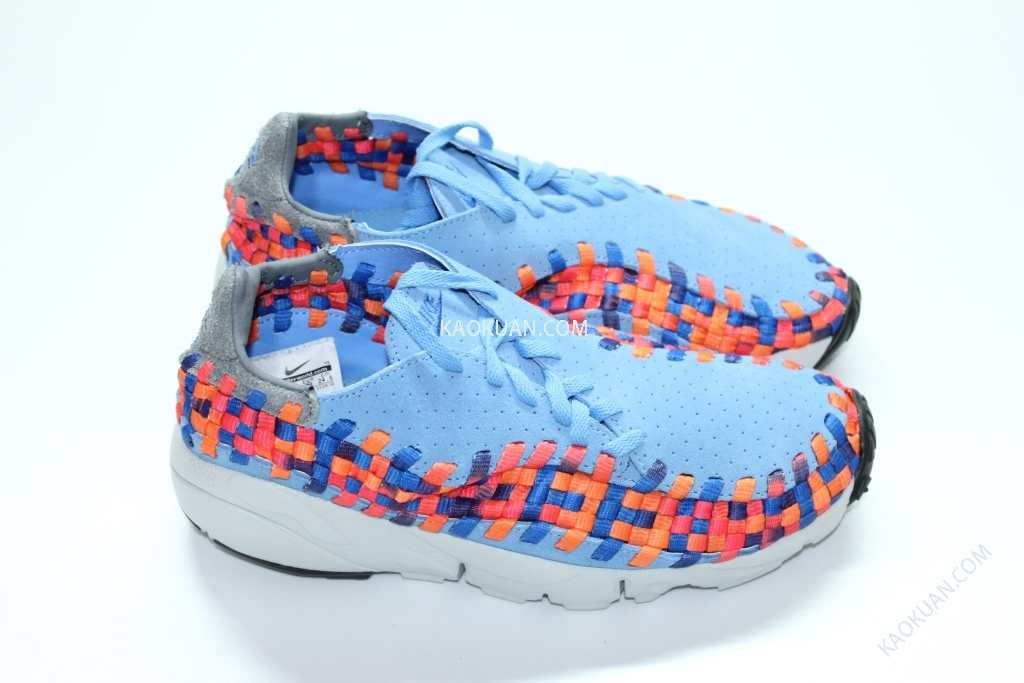 NIKE AIR FOOTSCAPE WOVEN MOTION BLUE RAINBOW 水藍 彩虹 編織 側綁 417725-401 女鞋