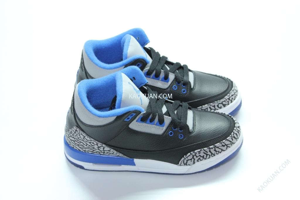 AIR JORDAN 3 AJ3 RETRO SPORT BLUE 398614-007 黑藍 爆裂紋 女鞋