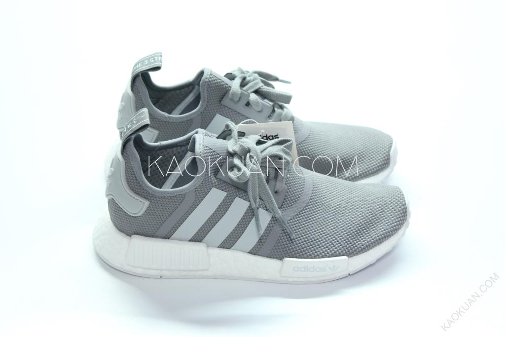 ADIDAS NMD_R1 J 灰白 網布 運動鞋 S80204