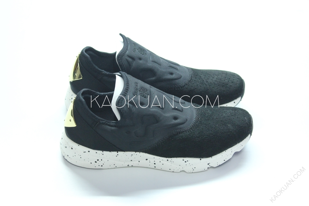 Reebok FuryLite Slip-On Lux 黑色 麂皮 潑墨 黑金 金屬 襪套 V69633