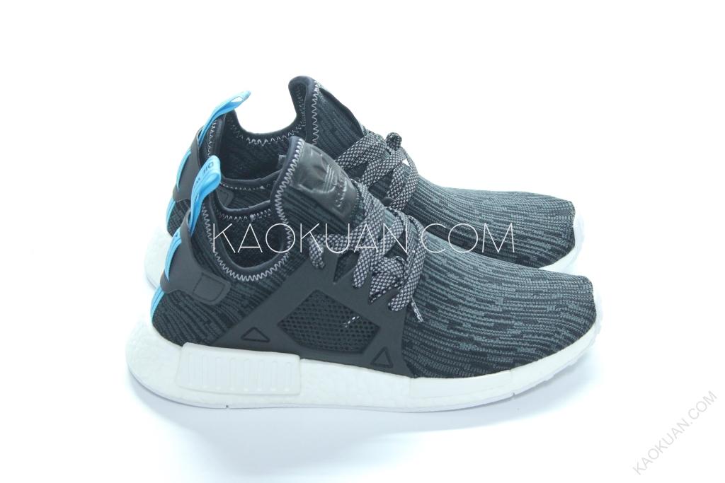Adidas NMD XR1 Primeknit 黑 水藍 雪花黑 條紋 編織 慢跑鞋 S32215