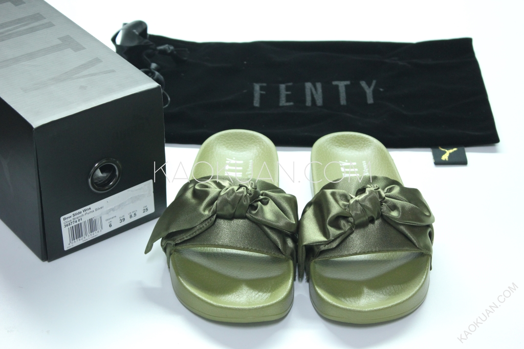 Puma x Fenty By Rihanna 蕾哈娜 蝴蝶結 緞帶 墨綠 軍綠 拖鞋 365774 01