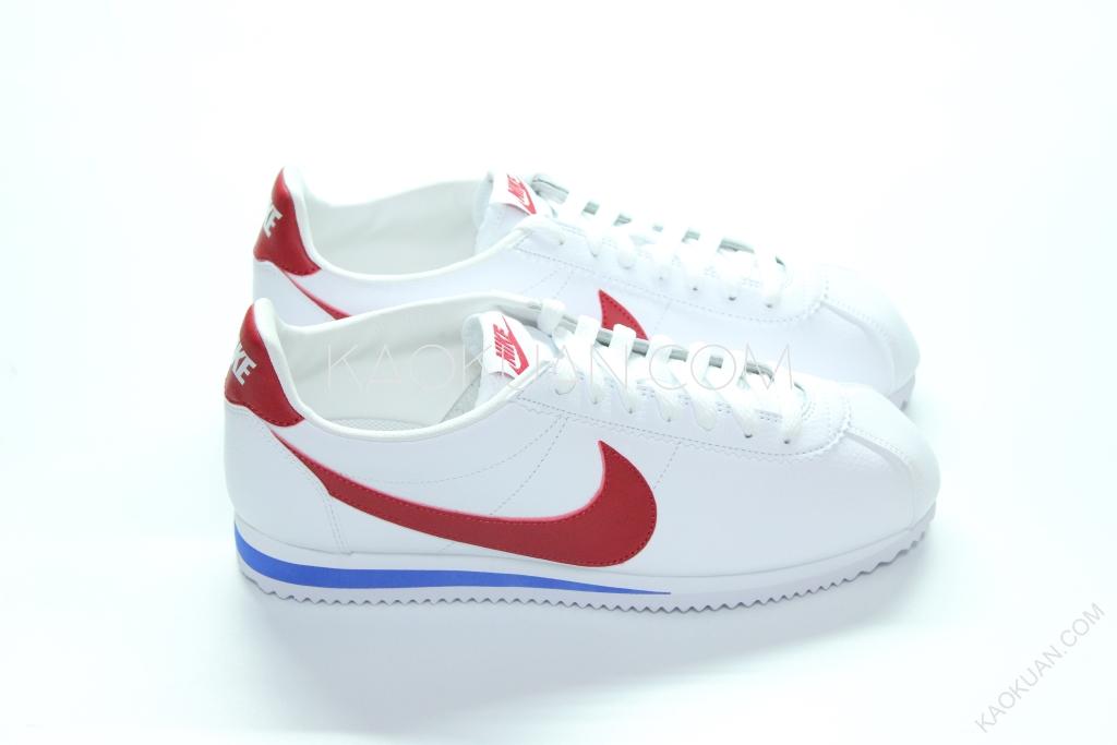Nike Cortez Leather 白 藍 紅 荔枝皮 阿甘鞋 原版配色 749571-154