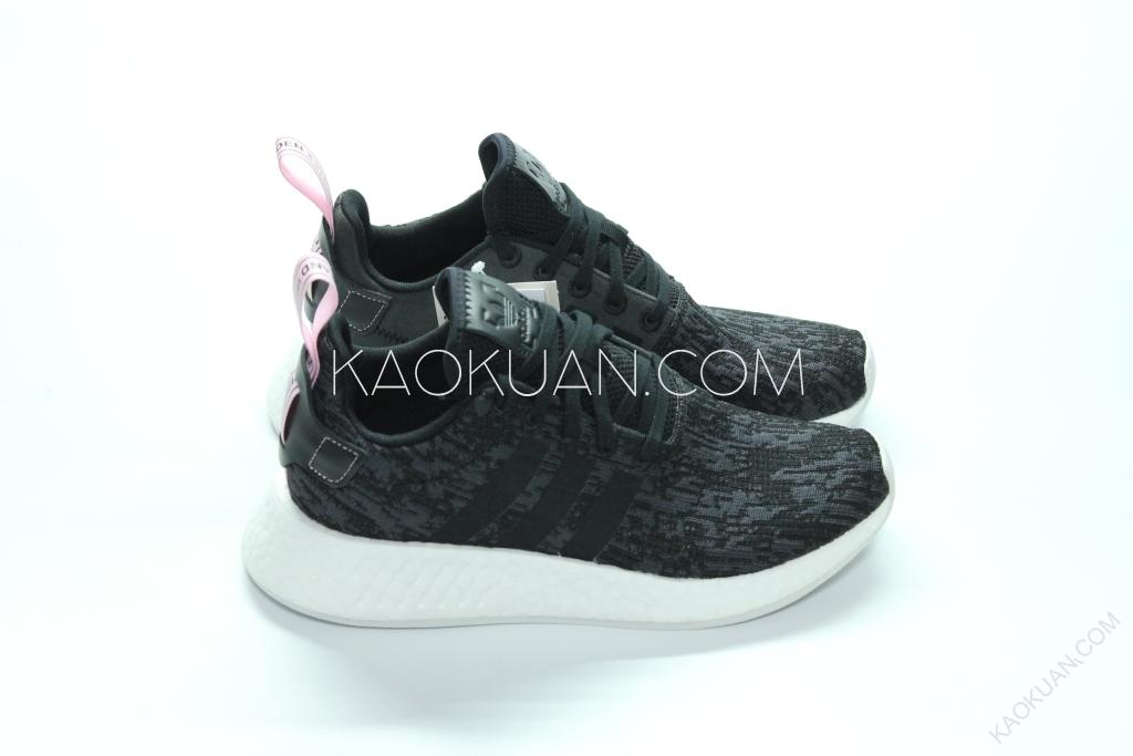 Adidas NMD_R2 W 黑 粉 雪花 粉拉環 女鞋 BY9314